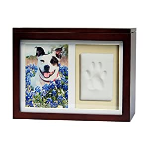 Pet Memorial Box Urn with Clay Paw Impression Kit, Poem and Paw Print Remembrance Necklace