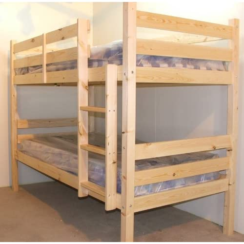 Adult Bunkbed 3ft single solid pine bunk bed - HEAVY DUTY BUNK BED - VERY STRONG - extra thick ladder steps with...