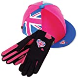 Carrots Pink Union Jack Hat Cover & Riding Glove Set (Pink) One Size