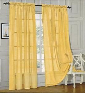 Elegance Linen Window Curtain Sheer Panel With Rod Pocket 60 Inch Width X 84