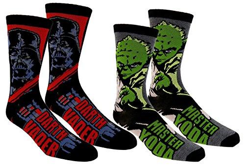 star-wars-mens-casual-crew-socks-2-pair-pack-darth-vader-yoda-charcoal-black
