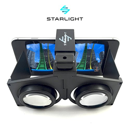 "Starlight Pocket Virtual Reality VR Headset - 3D Portable Goggles for up to 4"" - 6"" iPhone or Android Smartphones - Higher Quality Google Cardboard VR - Handheld for Use Over Eye Glasses"