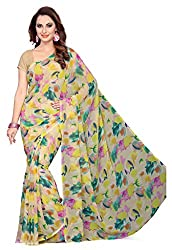 Ishin Faux Georgette Beige Floral Printed Womens Saree.