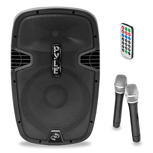 Pyle-Pro Pphp159Wmu 15-Inch 1600-Watt Bluetooth Pa Loudspeaker With 2 Wireless Mics, Fm Radio, Lcd Readout, Usb And Sd Card Readers