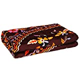 Gujattire Floral Double Blanket (Brown) QF5
