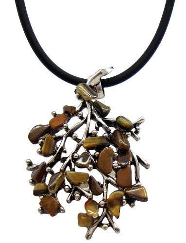 Natural Tiger's Eye Stone Twig Shaped Necklace