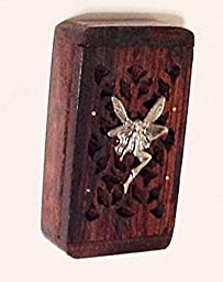 Rosewood Wooden Tooth Fairy Keepsake Box for Children - Silver Fairy