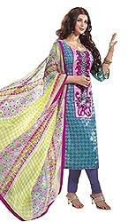 Adaa Women's Cotton Unstitched Dress Material (J-R-6437_Blue_Free Size)