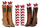 Boot Trees - Boot Shapers - Boot Stands Perfect For Closet Organization - Universal - For Tall Boots - Short Boots - UGG Boots - Cowboy Boots - For Women & Men - Perfect Gift Idea For Birthdays, Mother's Day, Christmas or Anniversary - Plush Fabric - Stylish And Perfect For Boot Organization - Never Again Have Your Boots Falling Over On Each Other, Getting Damaged Or Piled Up In The Closet - One Pair - Comes With Complementary Black Tie-On Wood Tags For Custom Personalization - LIFETIME GUARANTEE - SATISFACTION GUARANTEED Or Your Money Back - (SEVERAL COLORS/PATTERNS TO CHOOSE FROM - SELECT BELOW) - Red & White Chevron