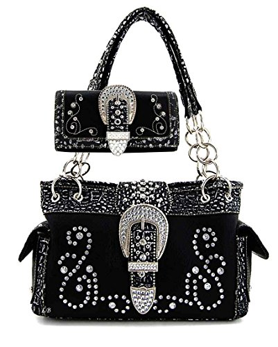 Montana West - Concealed Carry Purse - Rhinestone Buckle Chain Concealment Purse with Matching Wallet (Black)