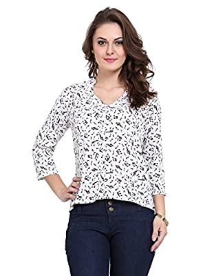 V neck style shirt with 3/4th sleeve, blend with glittering buttons with the soft touch of the fabric gives a cool experience-White
