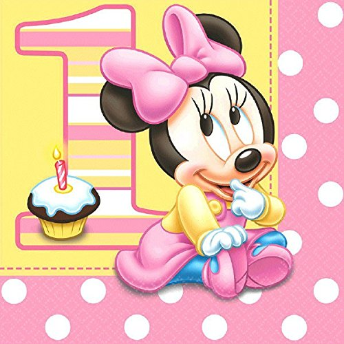 16 Count Minnie's 1st Birthday Lunch Napkins, Pink
