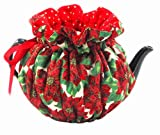 Tea Cozy Fully Lined in Contrast Fabric Made in the USA Fabulous Quality 4 Cup Size (Golden Poinsettia)