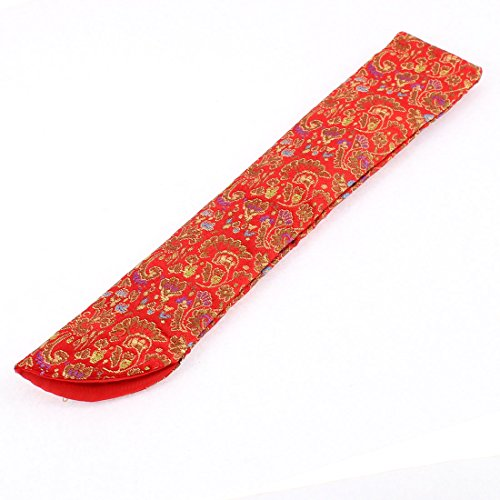 uxcell® Silk Blend Flowers Pattern Folding Cover Case Bag Fan Sleeve for Hand