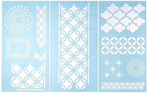 """Plaid:Craft  Martha Stewart Large Stencils 3 Sheets/Pkg-Arabesque 8.75""""X16.75"""" 11 Designs - 1"""