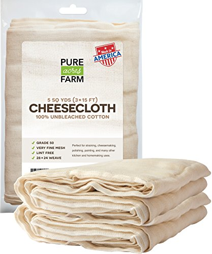 Cheesecloth - 45 Sq Feet: Grade 50 - 100% Unbleached Cotton - Filter - Strain - Reusable (5 Yards, 50 Weight)