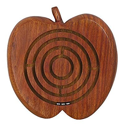 Handcrafted Apple Wooden Ball in Maze Puzzle - Unique Games for Kids - Travel Toys for Children
