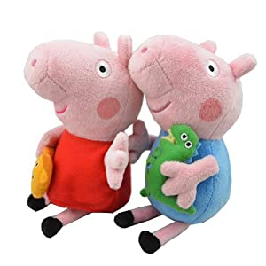 "2pcs Peppa Pig Plush Doll Stuffed Toy Peppa & GEORGE 8"" For Kids Gift by Plush Toy"
