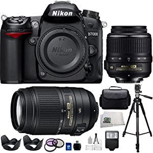 Pro Pack: Includes Nikon D7000 16.2MP CMOS Digital SLR DX Format with 2 VR Lenses and SSE 16GB Accessory Kit