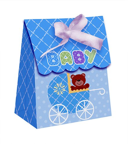 Teddy Baby Blue Plastic Favor Bags Diecut With Ribbon 72 Ct front-567538