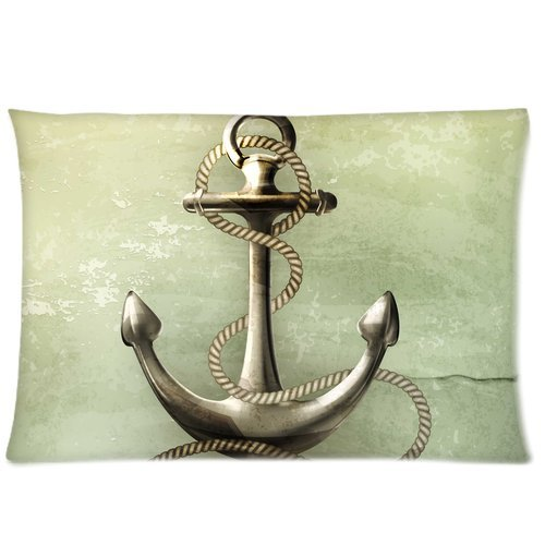 Navy Nautical Anchor Custom Zippered Pillowcase Pillow Cases Cover 20 X 30 Inch (twin side) from Qearl
