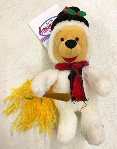 "Disney Store Snowman Pooh Mini Bean Bag Plush 8"" Doll"