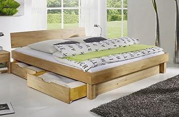 Bett mit Schubkästen 'Finn' 200x200cm Kernbuche massiv