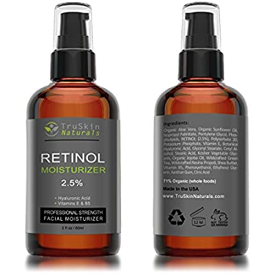 BEST ORGANIC Retinol Face Cream MOISTURIZER with Natural Ingredients to Reduce Appearance of Wrinkles & Fine Lines - 2.5% Vitamin A + Hyaluronic Acid, Vitamin E, B5, Organic Jojoba Oil, Green Tea - Works Wonders With TruSkin Naturals Vitamin C Anti-Aging