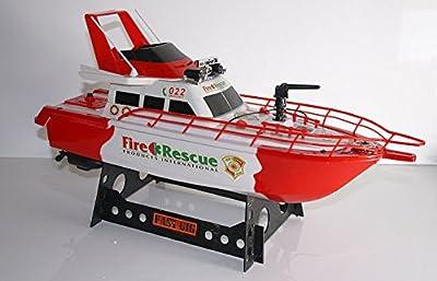 RC Feuerwehrboot FIRE BOAT 1 mit Sirene Signalleuchte + integrierter Wasserspritze ferngesteuertes Schiff