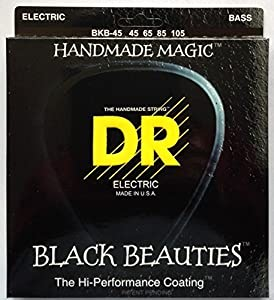 DR Handmade Black BKB45 Beauties Medium Electric Bass 4 String Set (45-105)