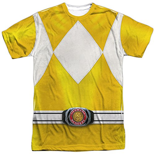 Power Rangers Childrens Live Action TV Series Yellow Costume Adult Front Print T
