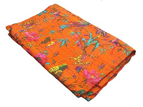 Bird-Print-Twin-Size-Kantha-Quilt-Orange-Kantha-Blanket-Bed-Cover-Twin-Kantha-bedspread-Bohemian-Bedding-Kantha-Size-60-Inch-x-90-Inch