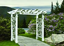Hot Sale New England Arbors Fairfield Grande 7.25-ft. Vinyl Pergola Arbor