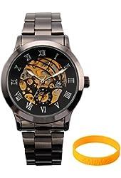 AMPM24 PMW019 Mechanical Analog Display Stainless Skeleton Mens Wrist Watch - Wristband