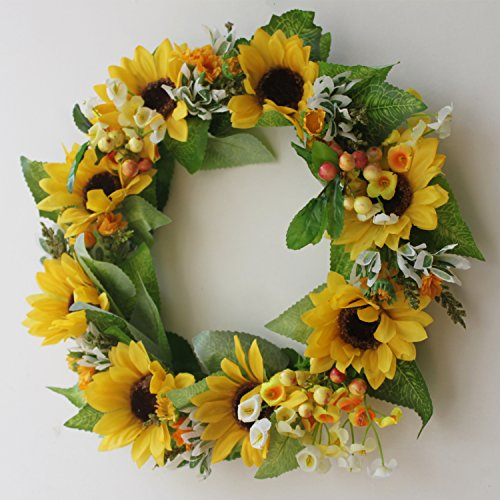 Silk Floral wreath home wall décor Artificial sun flower head ...
