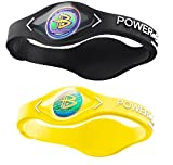Power Balance Silicone Sports Wristbands-Black-PB-Neon-Yellow-S-Pack-of-2