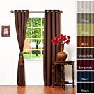 Solid Grommet Top Thermal Insulated Blackout Curtain 84  Length 1 Pair-CHOCOLATE - GT