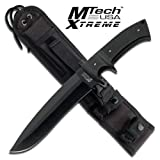 "MX-8090BK. FULL TANG BLACK FIXED BLADE MTECH HUNTING KNIFE WITH G10 HANDLE Mtech Xtreme Fixed Blade Hunting Knife Fixed Blade Knife 13"" Overall Length 5MM Thick Full Tang Blade 7"" Black Drop Point Blade 19MM Thick Black G10 Handle Includes Molle Sheath KNIFE fixed blade knife hunting sharp edge steel"