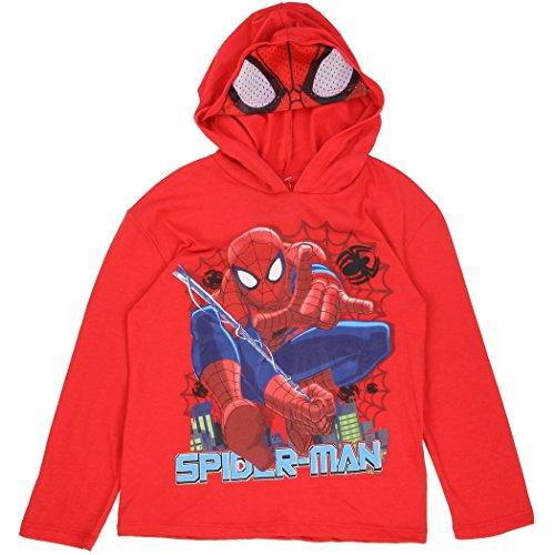 Marvel Little Boys' Spiderman Long Sleeve Tee with Hood and Mask (5/6)