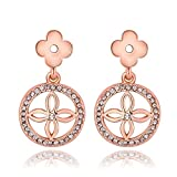 iSweven Luxury Rose Gold Filled Crystal Latest Fashion Rose Gold Drop Earring for girls & Womens ( jewelry1052 )