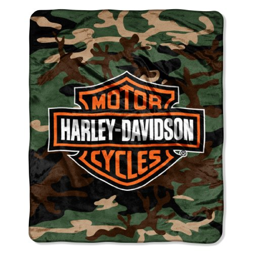 Harley Davidson, Camo 46-Inch-by-60-Inch Micro-Raschel Blanket by The Northwest Company