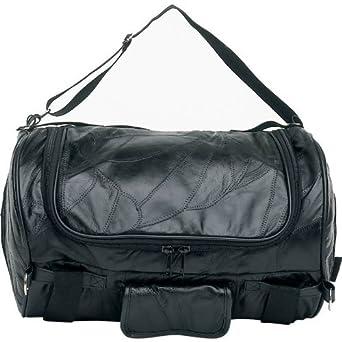 Diamond Plate? Rock Design Genuine Buffalo Leather Motorcycle Barrel Bag