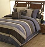 Plum Jacaranda Striped Microsuede Luxury Duvet Comforter Cover 6 piece Bedding Set - Queen Size