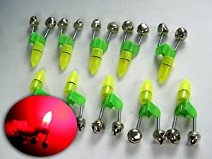 10x LED Twin Bell Fishing Tackle Green Rod Clip Tip Lights Bite Alarm Bait Alarm Fishing Alarm