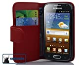 Cadorabo ! Leather cover Samsung Galaxy ACE 2 I8160 Wallet Book Style in red