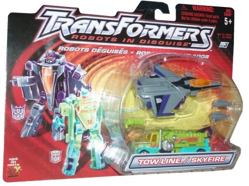 Transformers Robots In Disguise 2001 Action Figures - Autobot Towline and Decepticon Skyfire by Hasbro