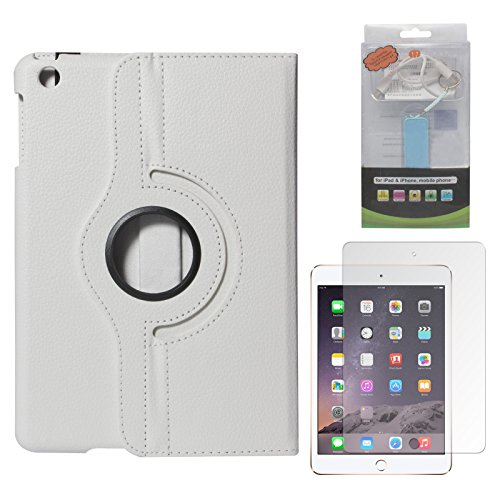 DMG Full 360 Rotating Cover Case For Apple Ipad Mini 3 (White) + 2600 MAh PowerBank + Matte Screen