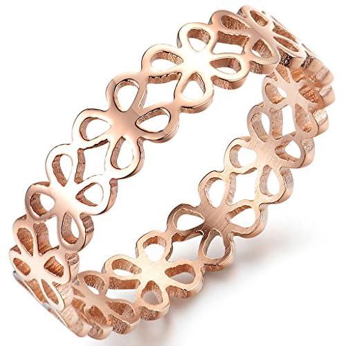 (キチシュウ)Aooazジュエリー レディースステンレスリング指輪 個性的なデザイン 透かし彫り花 可愛いクローバー ピンクゴールド 高品質のアクセサリー 日本サイズ11号(USサイズ6号)