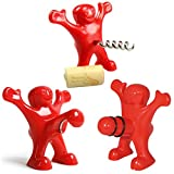 Wine Bottle Opener and Stopper Set - Happy Man Novelty Wine Corkscrew, Wine Stopper, Beer Bottle Opener,Perfect Gag Gift for Wine/Beer Lovers (Set of 3)