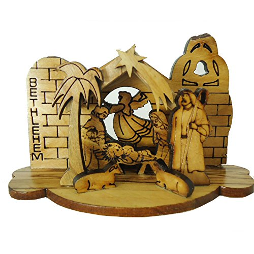 Olivewood Olive Wood Small Laser Nativity Set From Bethlehem Israel (OW-NAT-002) (Nativity Set Olive Wood compare prices)